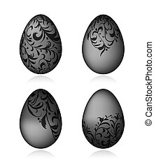 Easter eggs black with floral ornament for your design