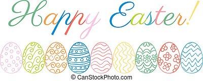 Easter Border Eggs Illustrated Egg Borders For Drawing