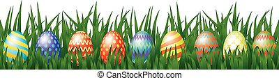 easter eggs - Border for Easter design with eggs hidden in...