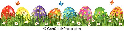Easter eggs border with daisies