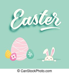 Easter Eggs Bunny Blue Background Vector Image