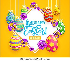 Easter eggs, bunny ears and spring flower