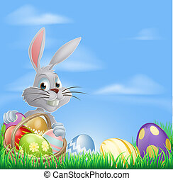 Easter eggs bunny in field - White Easter bunny rabbit with...