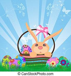 Easter Eggs Bunny Rabbit in Basket