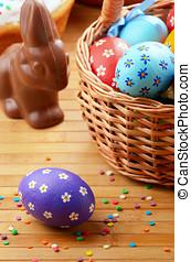 Easter eggs, cake, basket