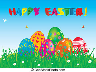 Easter eggs card with colourful eggs.