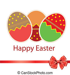 Easter eggs card with colourful eggs. vector illustration