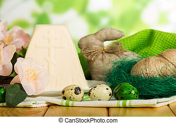 Easter eggs, cheesecake dessert, bunny, cotton towels,...