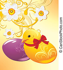 Easter eggs, chick and daffodils