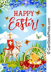 Easter eggs, chick and lamb of God with cross