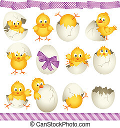 Scalable vectorial image representing a easter eggs chicks, isolated on white.