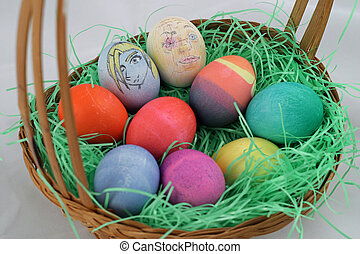 Easter Eggs Closeup - A closeup view of a group of...