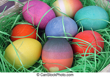 Easter Eggs Closeup2 - a closeup view of colorful easter...