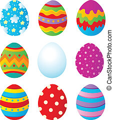 Easter eggs collection 1 - vector illustration.