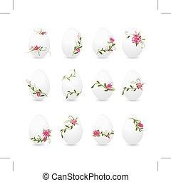 Easter eggs collection, floral desogn