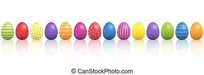 Easter Eggs Colorful Mixture In A Line - Easter eggs. Lined...