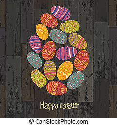 Easter eggs. Composed in one egg shape on wooden planks background. Vector, EPS10