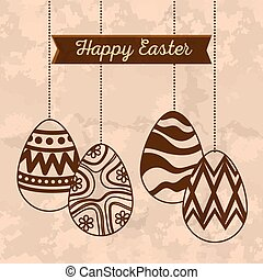 easter eggs decoration hanging and ribbon