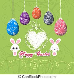 easter eggs doodle greeting card
