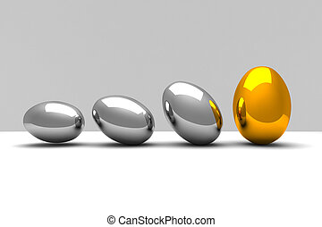 easter eggs - fine 3d image of metal eggs, easter background