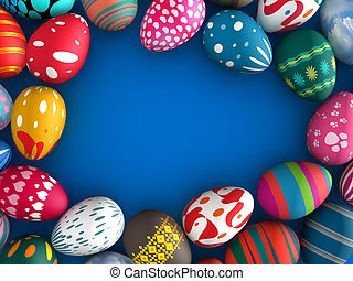 Easter eggs with blue color copy space background 3d...