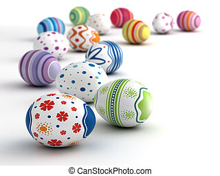 Easter Eggs - Multi color painted easter eggs (computer...