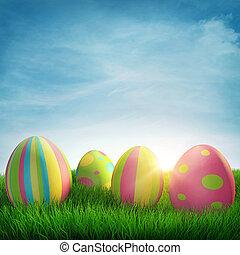 Easter eggs - Easter egg in green grass