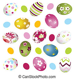 easter, eggs - colorful, floral easter, eggs