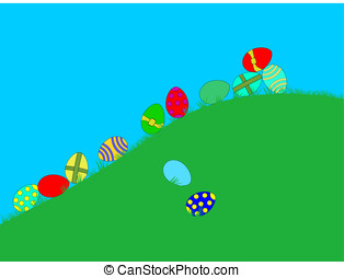 Easter eggs - Brightly coloured Easter eggs rolling down a...