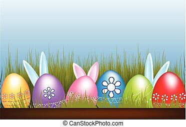 Easter Eggs flowers and hidden bunnies decoration