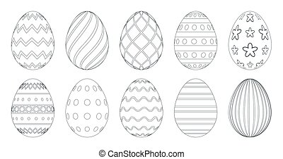 Easter eggs for coloring book. Set of black and white easter eggs isolated on a white background.