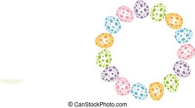 Easter eggs forming a circular fram