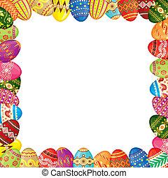 Easter eggs frame - Frame of multicolor painted Easter eggs