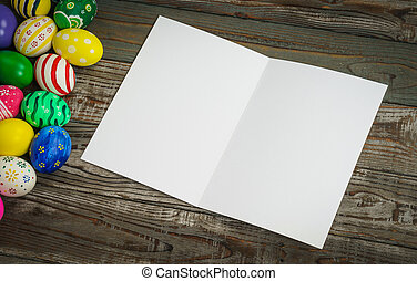 Easter eggs gift card on wooden background stock images search easter eggs gift card on wooden background negle Gallery