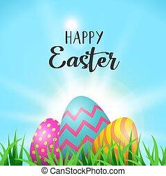 Easter eggs greeting card in spring garden grass