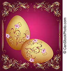 Easter eggs - Greeting card with easter eggs
