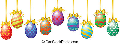 Hanging easter eggs with bow