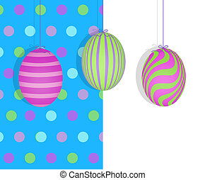 Easter Eggs Hanging on a Blue Polka Dot Background