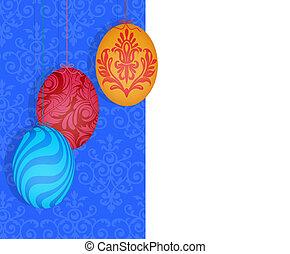 Easter Eggs Hanging on a Split Damask Background