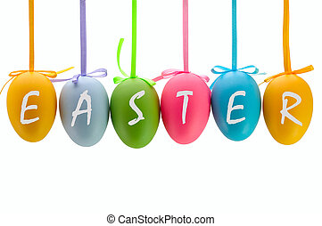 Easter eggs hanging on ribbons. Isolated. - Colorful Easter...