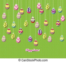 easter eggs hanging on the wire