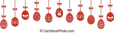 Easter eggs hanging ornaments background