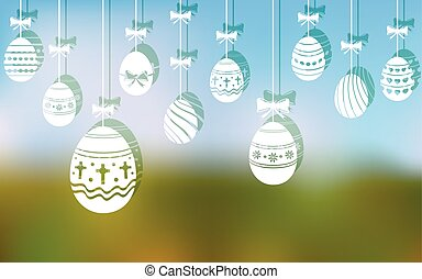Easter eggs hanging ornaments