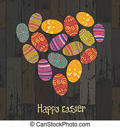 Easter eggs. Heart shaped on wooden planks background. Vector, EPS10
