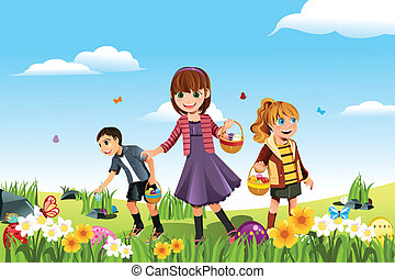 Easter eggs hunt - A vector illustration of kids celebrating...