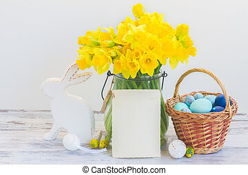 Easter eggs hunt - white rabbit, basket with painted eggs ...