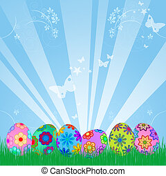 Easter Eggs Hunt with Colorful Floral Design