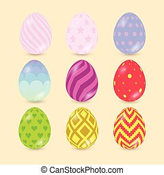 Easter Eggs icons isolated on background