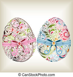 Easter Eggs - Illustration of abstract easter eggs filled...