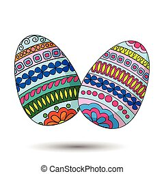 easter eggs - Hand drawn decorated eggs. Isolated on the...